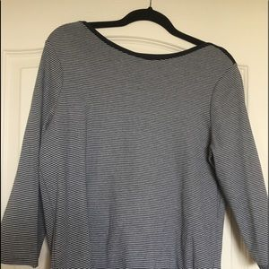 Tops - Navy and White striped boat neck T